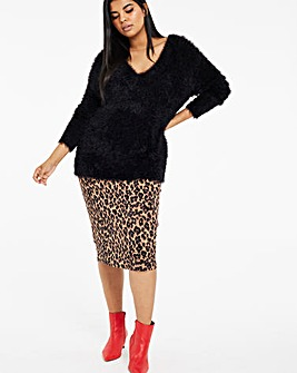 Black V Neck Fluffy Jumper