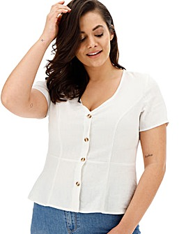 Vero Moda Button Front Peplum Top