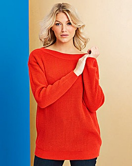 Flame Red Slash Neck Jumper
