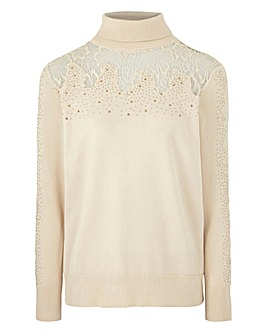 Lace Roll Neck Jumper