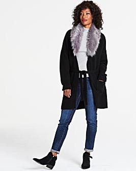 Faux Fur Trim Belted Cardigan