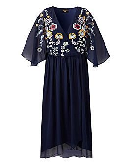 Lovedrobe Embroidered Cape Dress
