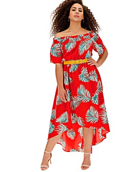 Lovedrobe Tropical Dip Back Bardot Dress