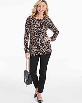Leopard Print Crew Neck Cardigan