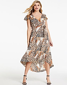 AX Paris Animal Print Wrap Midi Dress