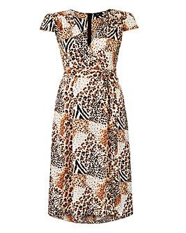 AX Paris Animal Print Wrap Midi Dress
