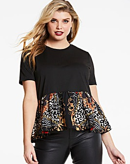 AX Paris Peplim Satin Chain Print Top