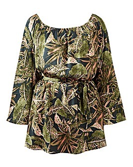 AX Paris Curve Tropical Print Bardot Blouse