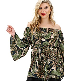 AX Paris Curve Tropical Bardot Blouse
