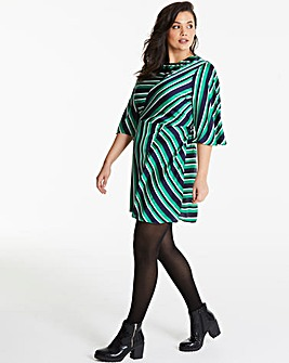 AX Paris Curve Stripe Asymmetric Dress