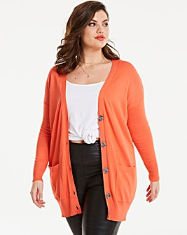 Hot Coral Boyfriend Cardigan