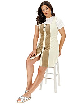 Glamorous Stone Stripe Pinifore Dress