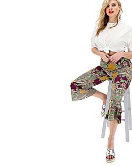 Glamorous Curve Kick Flare Printed Trousers