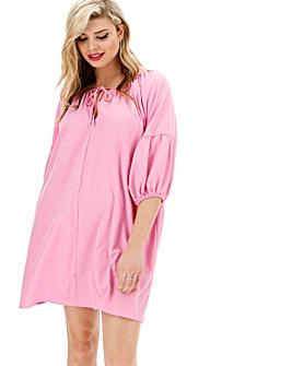 Glamorous Curve Puff Sleeve Pink Shift Dress