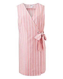 Glamorous Linen Look Stripe Wrap Dress
