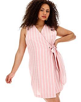 Glamorous Linen Look Stripe Wrap Dress
