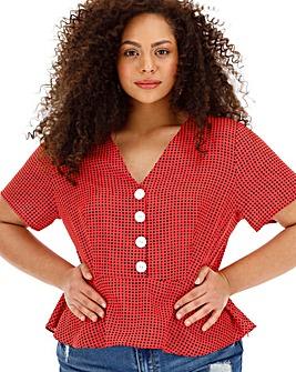 Glamorous Curve Polka Dot Tea Top