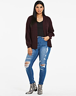 Burgundy Dropped Shoulder Cardigan