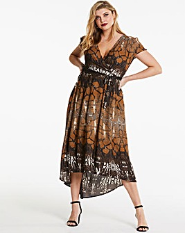 Ax Paris Curve Animal Print Wrap Dress