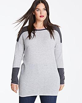 Grey Marl Contrast Rib Tunic