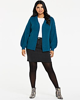 Teal Dropped Shoulder Cardigan