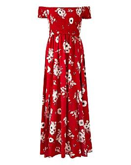 Apricot Shirred Maxi Dress