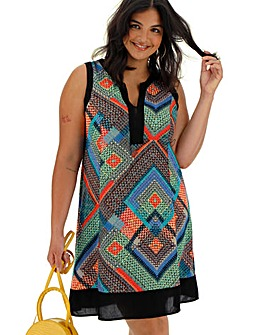 Apricot Geo Print Sleeveless Dress