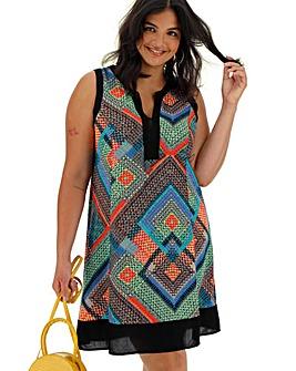 Apricot Geo Print Sleeveless Dress