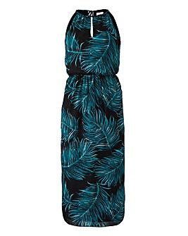 Apricot Palm Print Midi Dress