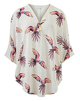 Apricot Parrot Print Zip Front Top