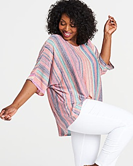 Apricot Oversized Boxy Stripe Top