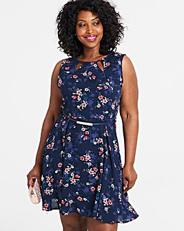 Apricot Floral Print Skater Dress