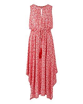 Apricot Hanky Hem Midi Dress