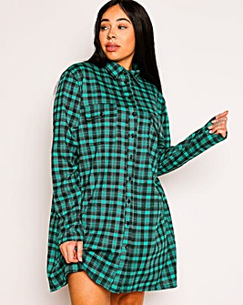 Lasula Green Tartan Shirt Dress