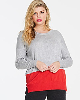 Grey/Red Boxy Jumper with Pocket Detail