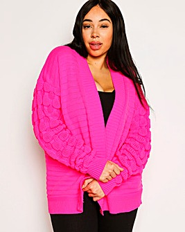 Lasula Bubble Sleeve Oversized Cardigan