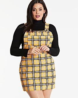Lasula Yellow Check Pinafore Dress