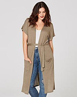 Linen-Mix Longline Cardigan