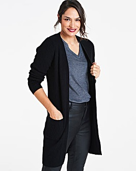 Black Longline Fisherman Rib Cardigan