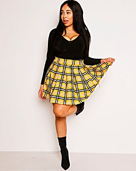 Lasula Yellow Check Tennis Skirt