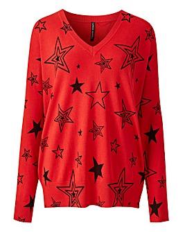 Red/Black Stars V Neck Jumper