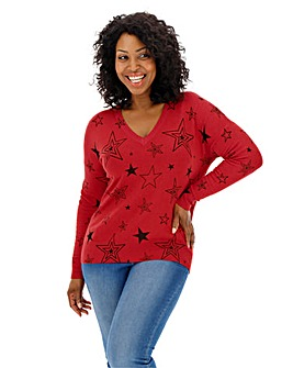 Red/Black Stars V Neck Jumper