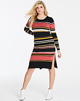 Multi Stripe Ribbed Knitted Dress