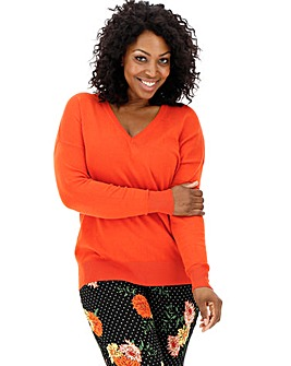 Deep Orange V Neck Jumper