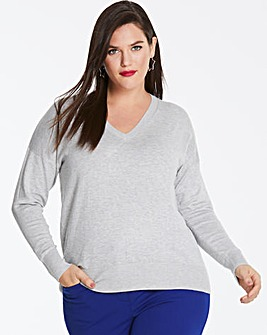 Light Grey Marl V Neck Jumper
