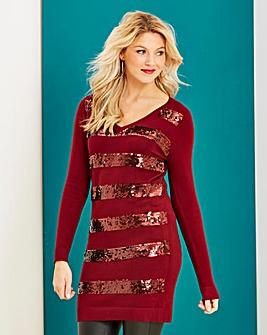 Sequin Stripe V Neck Tunic
