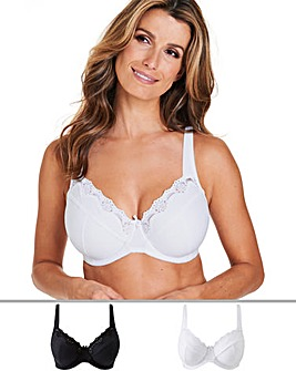 Naturally Close 2 Pack Sarah White/Black Full Cup Wired Bras