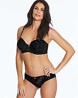 Joe Browns Floral Flocked Black Moulded Wired Multiway Bra