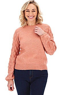 Oasis Curve Pointelle Stitch Sleeve Jumper