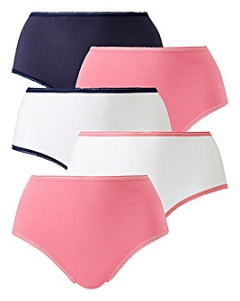 5 Pack Value Ink/White Midi Briefs